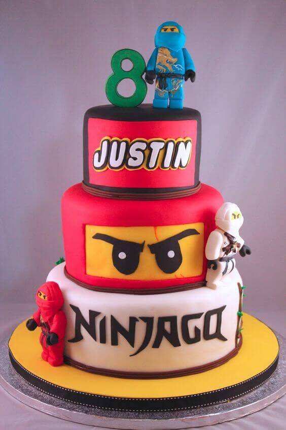 This tiered Lego Ninjago Cake is beautifully crafted and makes clever use of fonts.