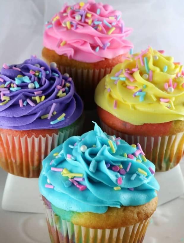 Celebration Swirl Marble Cupcakes