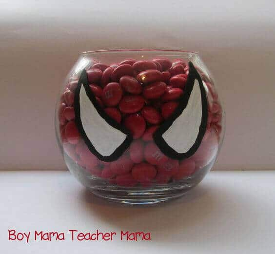This spiderman candy dish is a fun way to incorporate traditional party treats with the theme
