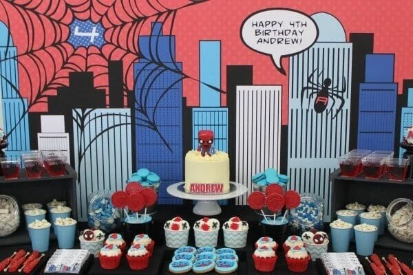 This amazing Spiderman dessert table is inspirational and will have guests almost too flabbergasted to enjoy the treats.