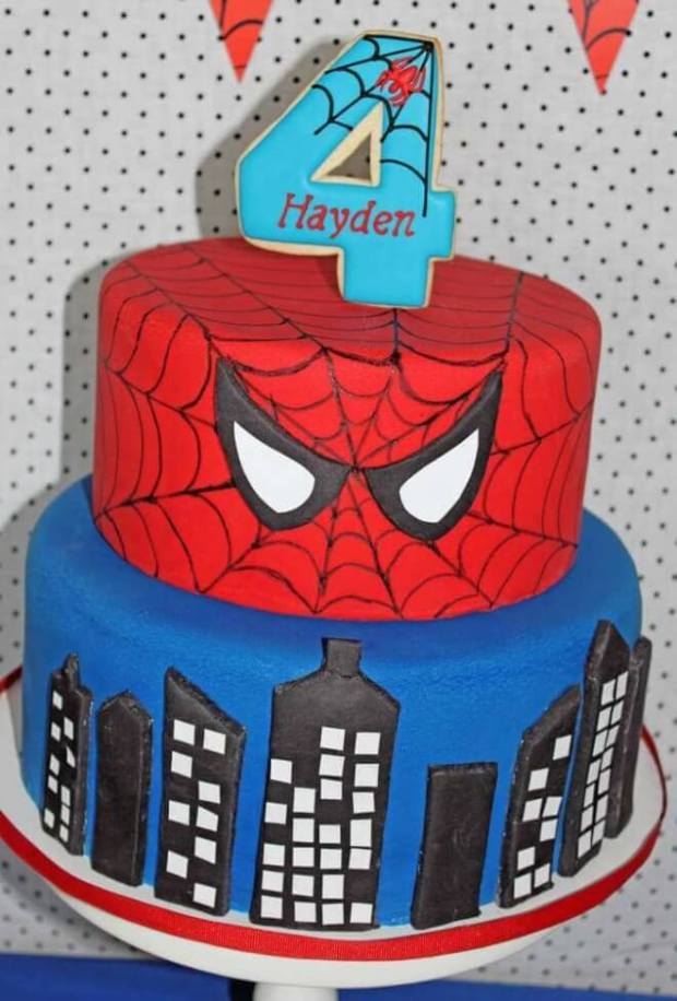 This tiered Spiderman cake is fun and delicious