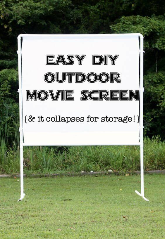 Easy, collapsable DIY outdoor movie screen