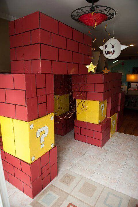 Bring Super Mario Brothers to life with these amazing brick & question mark box decorations