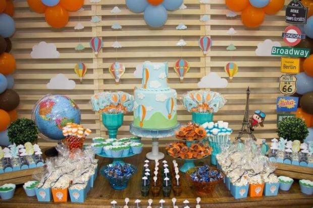 Boy's Hot Air Balloon Birthday Party