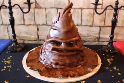 This magical Sorting Hat Cake will impress guests at a Harry Potter Hogwarts party.
