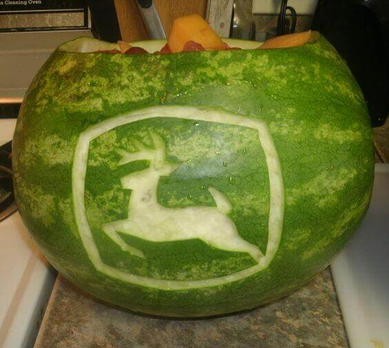 John Deere Tractor Party Carved Watermelon