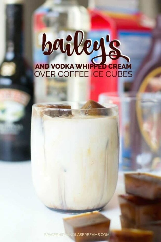 Bailey's & Vodka Whipped Cream with Coffee Ice Cubes