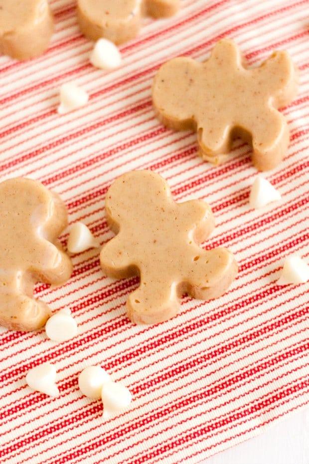 overhead shot of gingerbread man shaped fudge