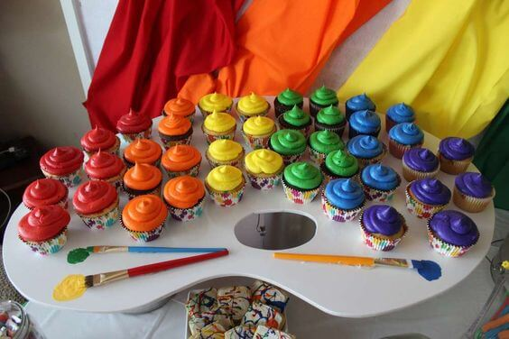 Rainbow Cupcakes Display