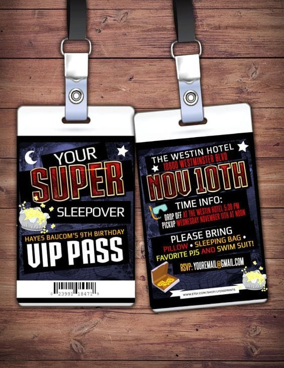 VIP Sleepover Pass Slumber Party Invitation