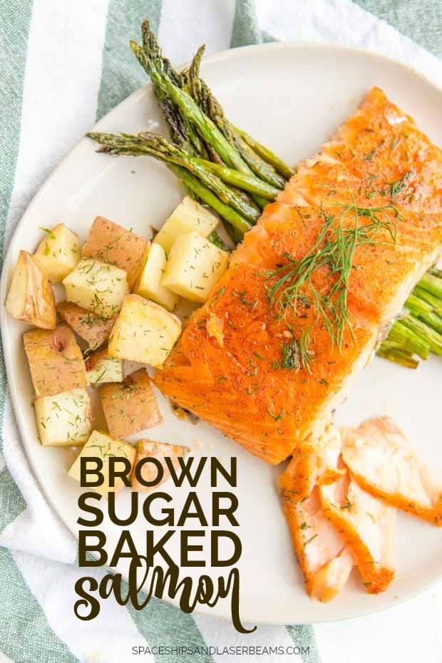 brown sugar baked salmon on a plate