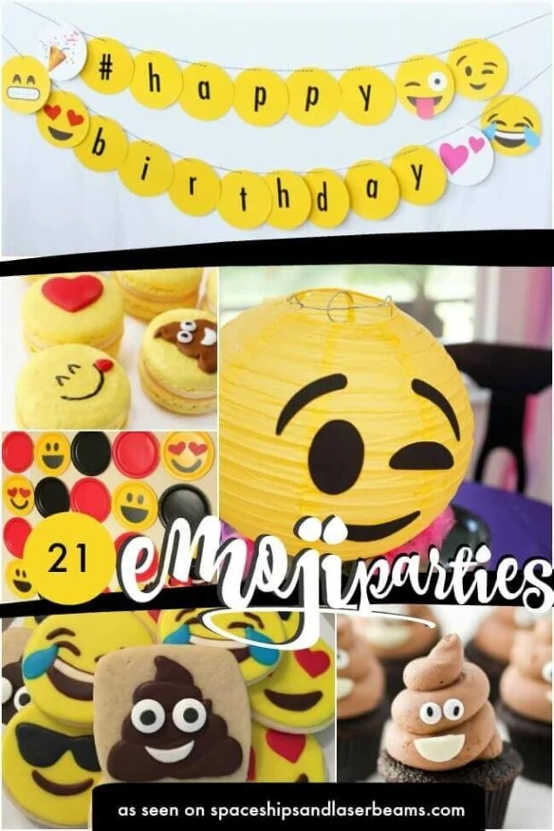 photo collage of emoji party ideas