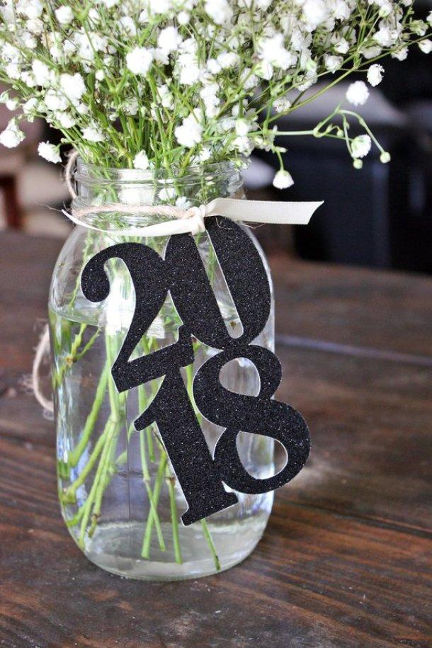 Graduation Year Mason Jar Centerpiece | 19 Graduation Party Decoration Ideas