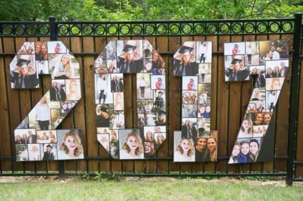 Graduation Year Photo Collage by Play Party Plan | 19 Graduation Party Decoration Ideas