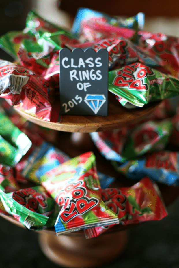 Ring Pop Class Rings by My Life at Playtime | 19 Graduation Party Favor Ideas