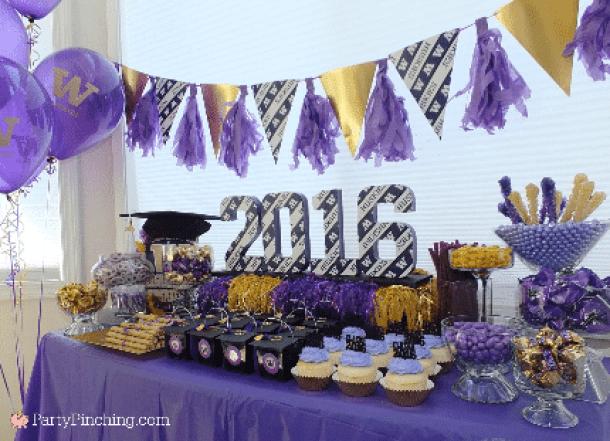 School Colors Graduation Party Decor by Party Pinching | 19 Graduation Party Decoration Ideas