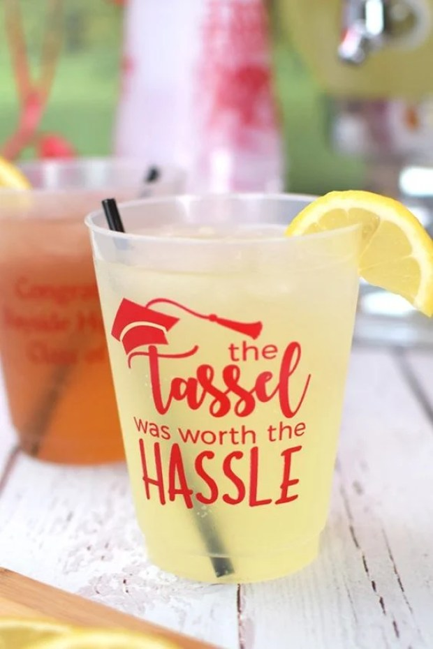 Tassel Was Worth The Hassle Party Cups via Tippy Toad | 19 Graduation Party Favor Ideas