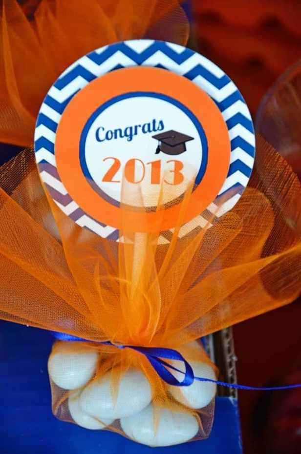 Tulle Wrapped Candy Graduation Party Favor by Catch My Party | 19 Graduation Party Favor Ideas