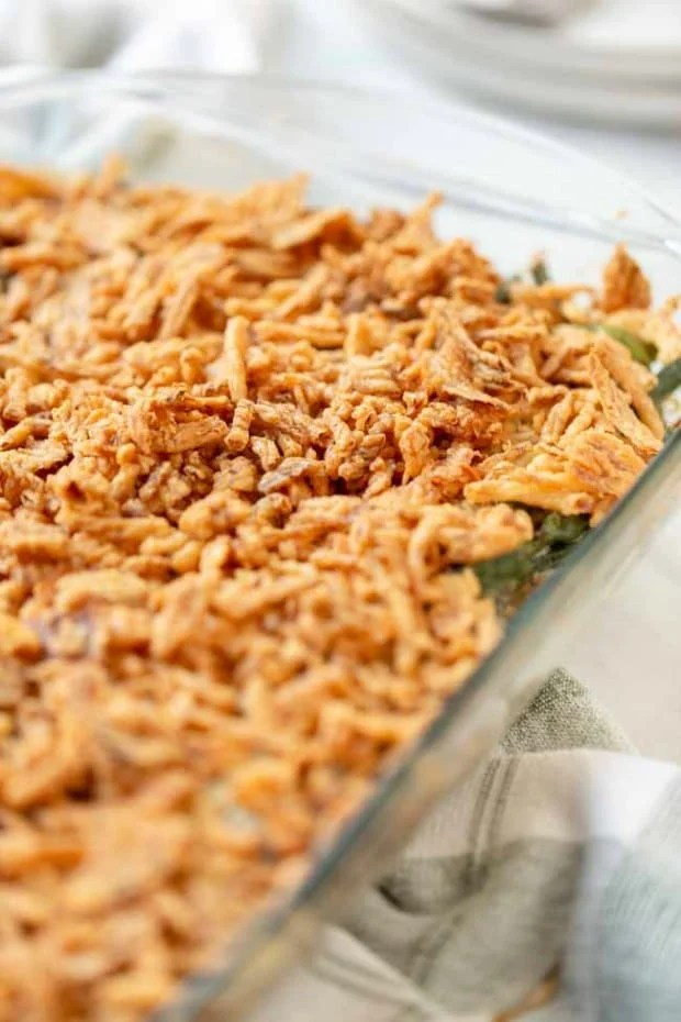 casserole dish with cooked string bean casserole
