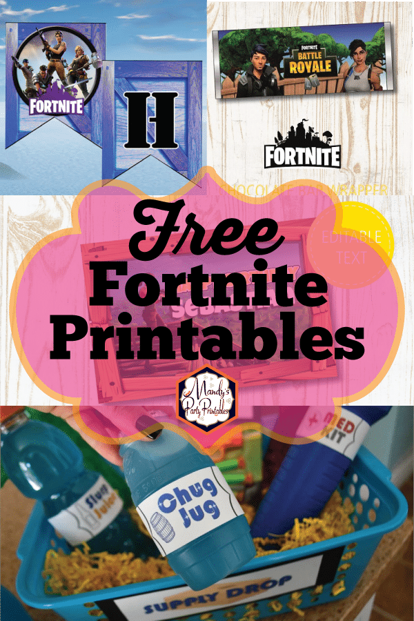 Free Fortnite Printables from Mandys Party Printables | The BEST Fortnite Party Ideas