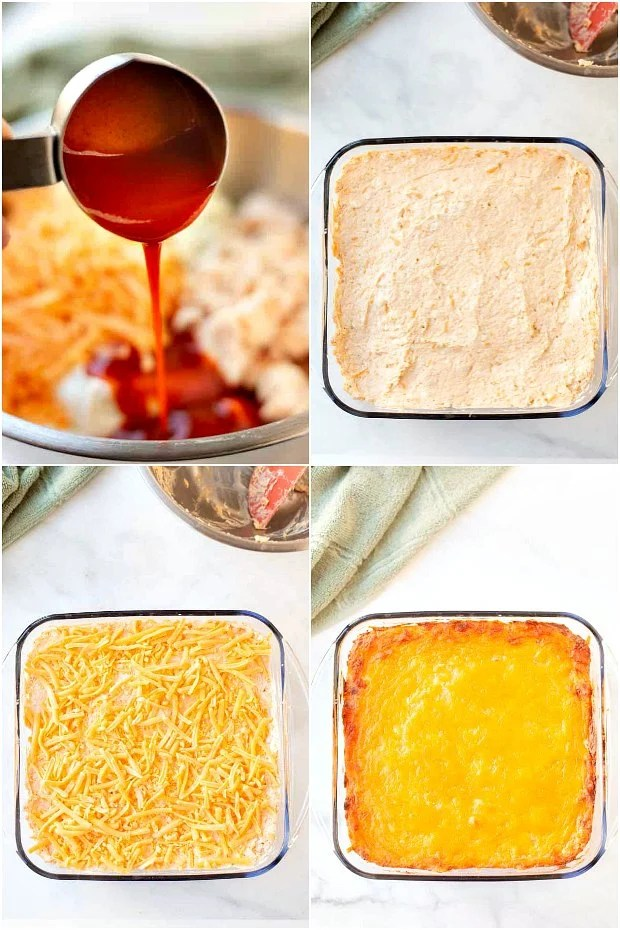 Photo Collage of steps for making buffalo chicken dip in the oven