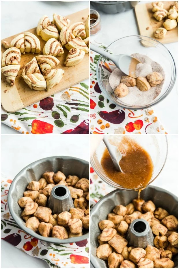 photo collage of steps for making cinnamon roll monkey bread