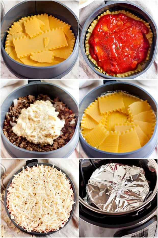 photo collage showing how to make lasagna in an instant pot