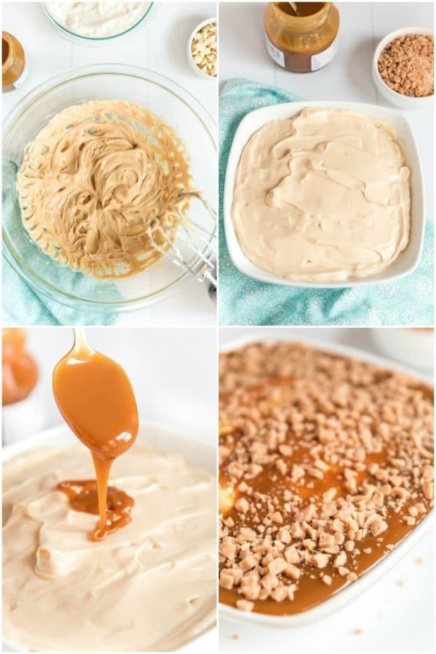 photo collage showing how to make caramel apple dip