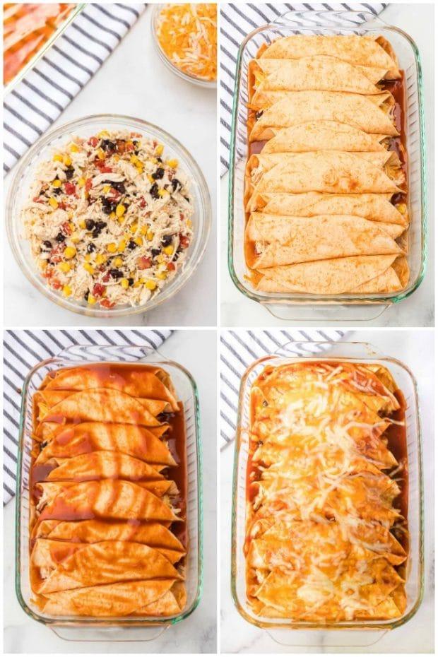steps for making chicken enchiladas