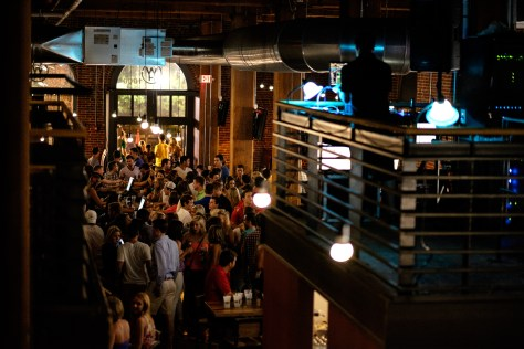 View of the DJ booth from the mezzanine.
