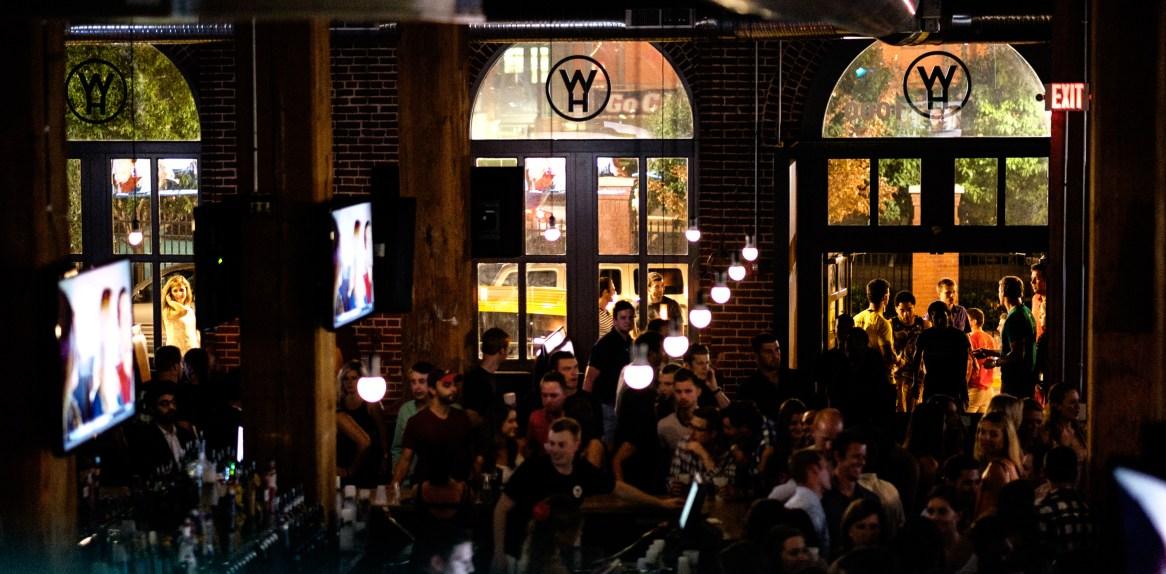 The bar at night.