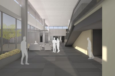 Rendered view of the interior and stairs that lead to an observation mezzanine.