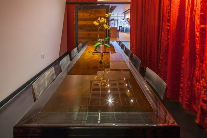 SPACE-designed and built table in the private dining room.