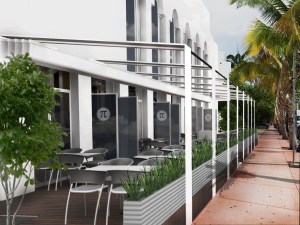 Rendering of Pi'ami's exterior with a new raised patio with a retractable roof.