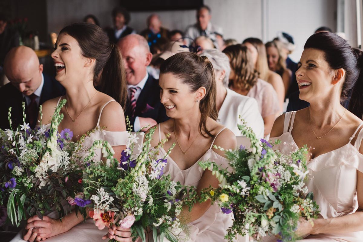 Summer Bridesmaids with sustainable & organically grown local wedding flowers