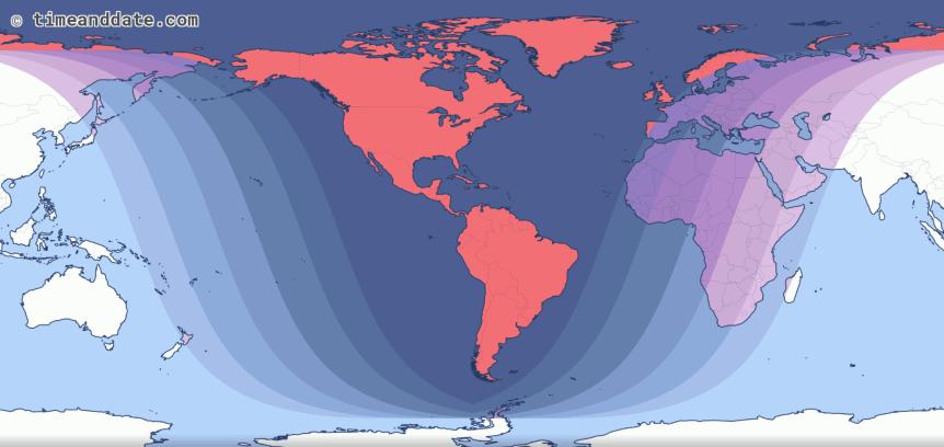2019 Lunar Eclipse Map