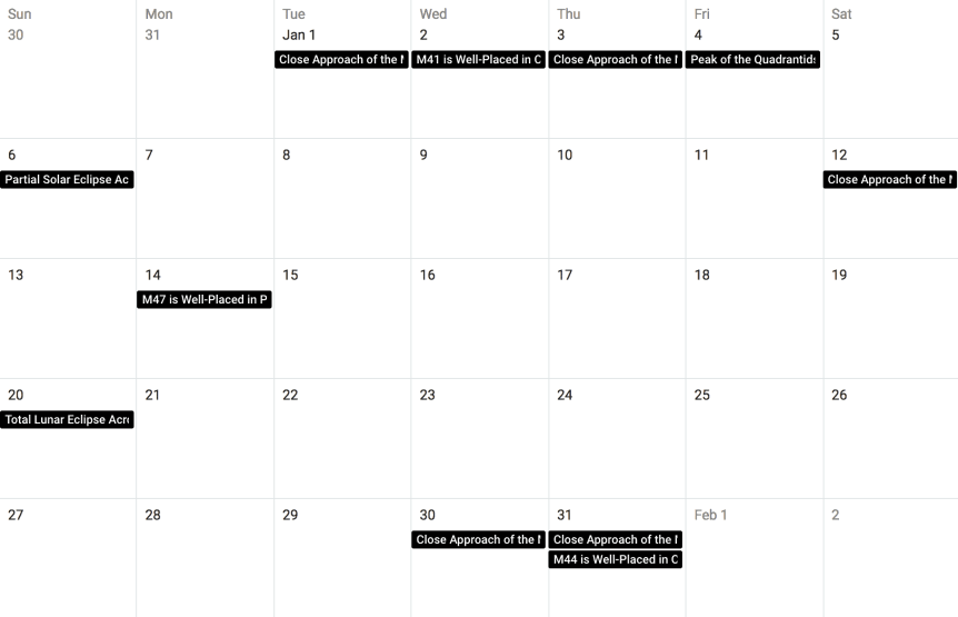 Night Sky in January - Calendar