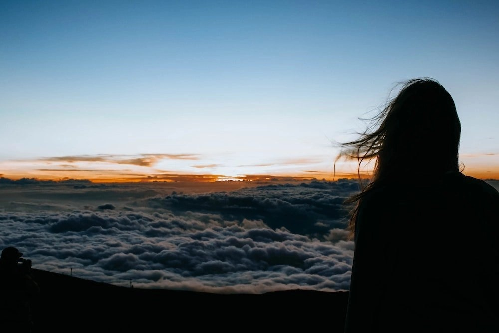 Haleakala Stargazing - Woman Watching Sunrise
