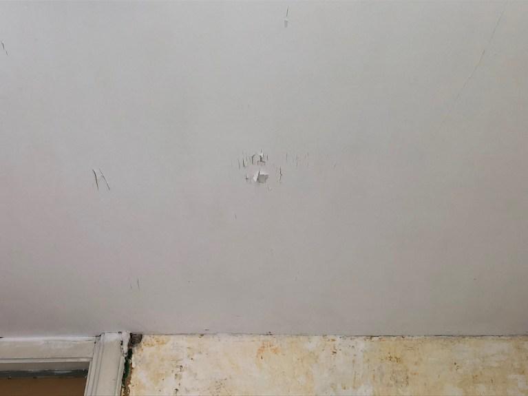 Wand na verwijderden behang, verontreinigd door waterschade