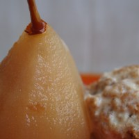 Quick and Easy Christmas Pudding Ice-Cream with Poached Pears