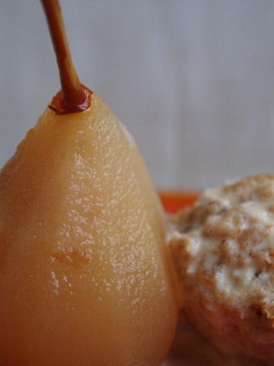 Poached Pear and Christmas Pudding Ice Cream