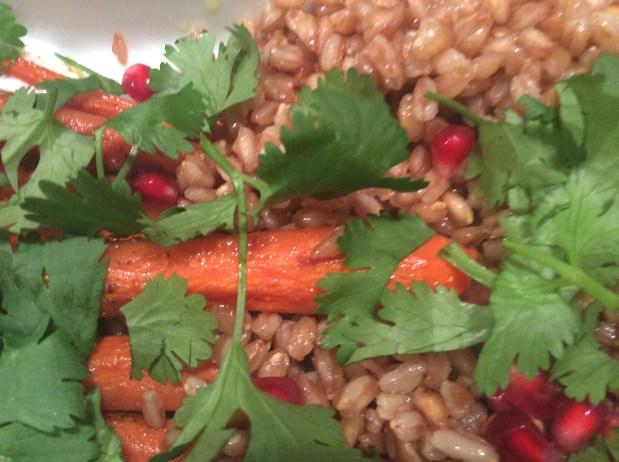 November in the kitchen – Roast Carrots with Farro and Goat Cheese