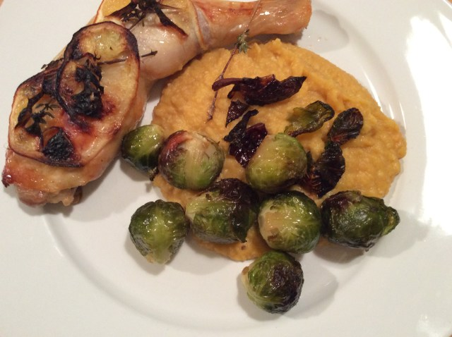Lemon Chicken with Roast Brussels Sprouts and Cannellini Bean Mash