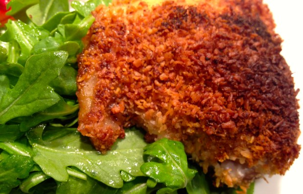 December in the kitchen – Coconut crusted chicken and persimmon caprese