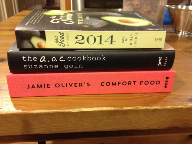 New Cookbooks - Jamie Oliver Comfort Food, A.O.C. Cookbook, Best Food Writing of 2014