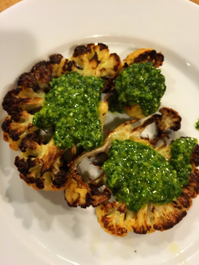Roast Cauliflower with Spicy Lemon Salsa Verde