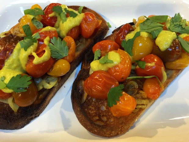 April in the Kitchen – Carmelized Onion, Roast Cherry Tomatoes, and Curry on Toast