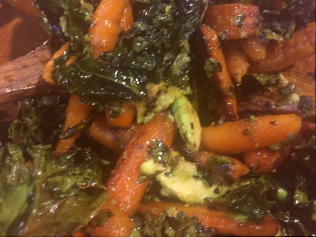 April in the Kitchen – Carrot and Avocado Salad with Crispy Kale and Hijiki