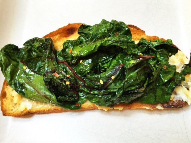 April in the Kitchen – Roast Garlic and Chard Bruschetta