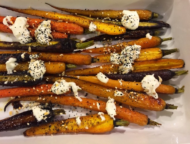 May in the Kitchen – Roast Carrots with Harissa Aioli and Seedy Mix